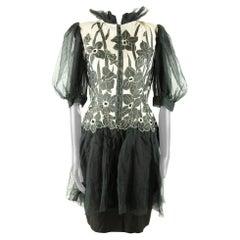 Jean-Louis Scherrer Couture Black Organza Drop Waist Dress with Floral Applique