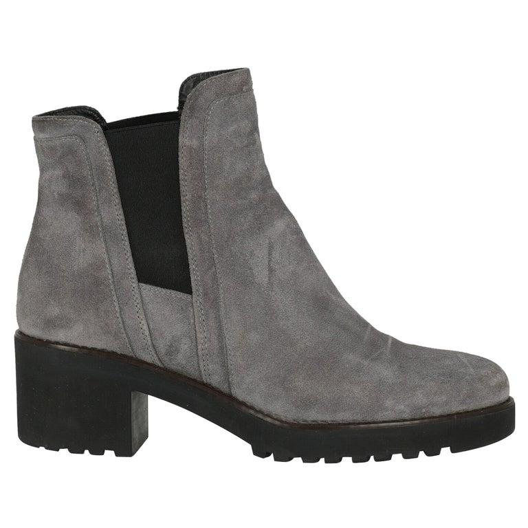 Hogan Women Ankle boots Grey Leather EU 39