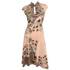 Roberto Cavalli S/S 2003 Cheongsam Floral Maxi Dress