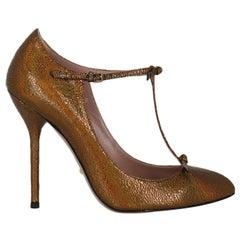 Gucci Women Pumps Bronze Leather EU 37.5