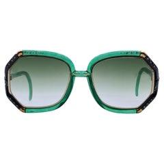 Ted Lapidus Vintage Green TL10 Rhinestones Sunglasses 56/10 140mm