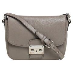 Miu Miu Argilla Grey Leather Madras Crossbody Bag