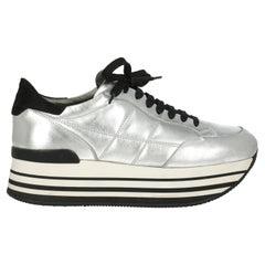 Hogan Women Sneakers Silver Leather EU 40