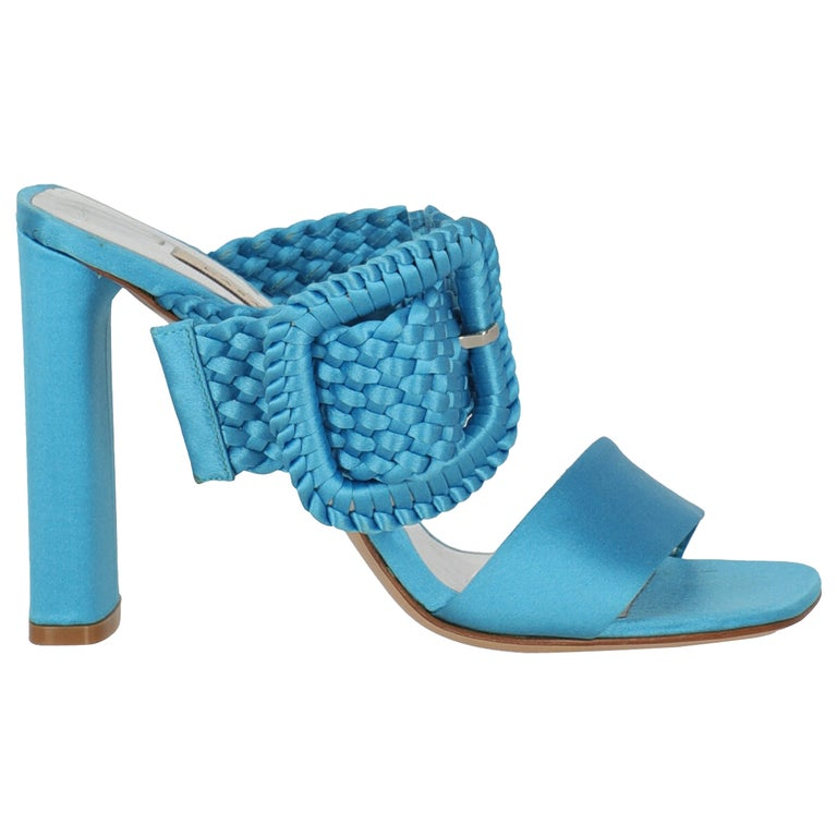 Casadei Women Sandals Blue Fabric EU 38 For Sale