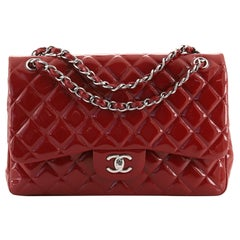 Chanel Classic Double Flap Bag Quilted Patent Jumbo