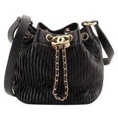 Chanel Coco Pleats Drawstring Bag Pleated Crumpled Calfskin Small