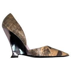 F/W 2004 Yves Saint Laurent Tom Ford Lizard Skin Pink Mirror Heels 41