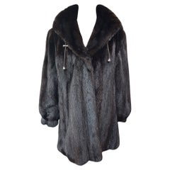 Unused ranch mink fur coat with a hood size 16