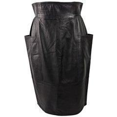 Emanuel Ungaro Vintage Black Leather Architectural High Waist Skirt
