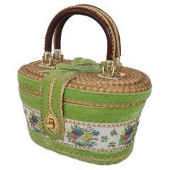 Billie Ross of Palm Beach Wicker Basket Handbag, 1960's