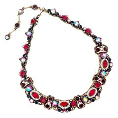 Victorian Revival Ornate Ruby Red Crystal Necklace By Weiss, 1960s