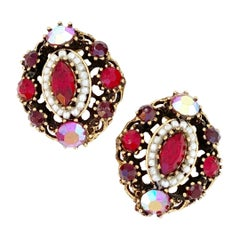 Victorian Revival Ornate Ruby Red Crystal Earrings By Weiss, 1960s