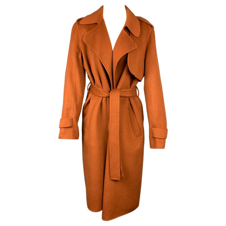THEORY Size M Rust Wool / Cashmere Shawl Collar Belted Coat