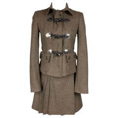 BURBERRY LONDON Size 2 Brown Wool / Cashmere Wrap Pleated Skirt Suit