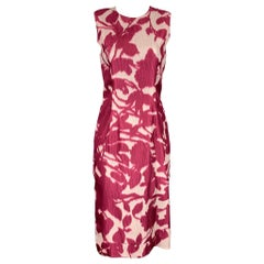 PRABAL GURUNG Size 2 Burgundy & White Silk / Cotton Shift Dress