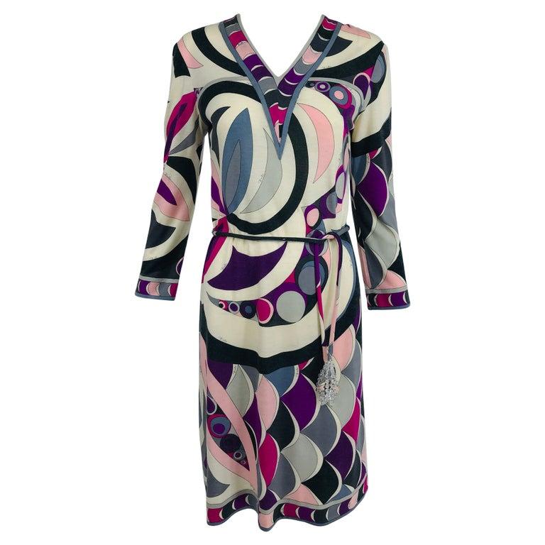 Pucci Cashmere & Silk Fine Knit Dress & Belt 1960s For Sale