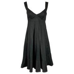 BURBERRY LONDON Size 4 Black Pleated Cotton A-line Dress