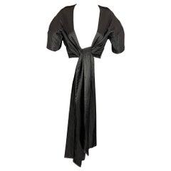 CALVIN KLEIN Size L Black Pleated Long Panel Open Front Capelet