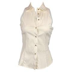 BRUNELLO CUCINELLI Size S White & Light Blue Sleeveless Blouse