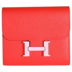 Hermès Rouge De Coeur Epsom & Rose Sakura Enamel Compact Constance Wallet PHW