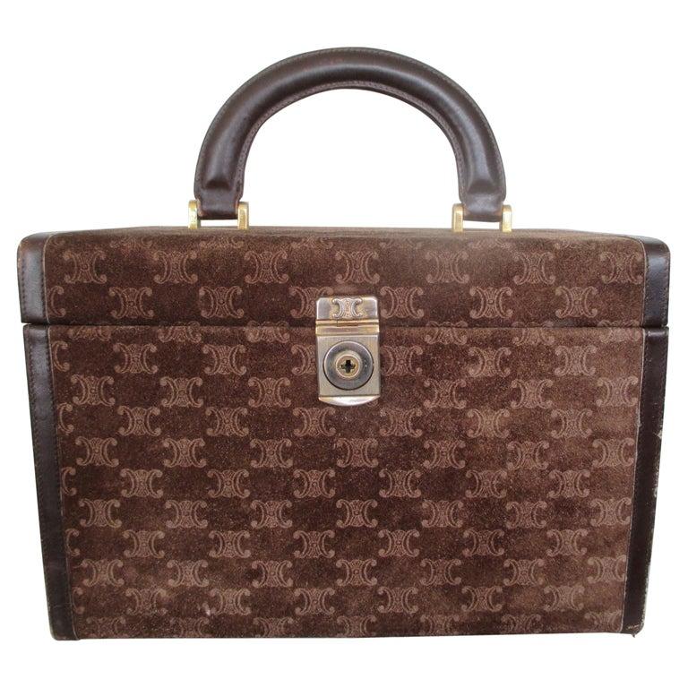 Celine Vintage Macadam Suede Leather Vanity Case, 1970s For Sale