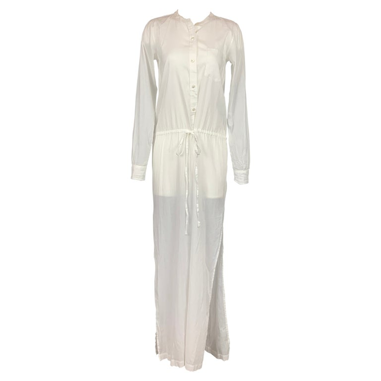 THEORY Size S White Cotton Long Shirt Dress For Sale