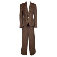 RALPH LAUREN Collection Size 10 Brown & Cream Pinstripe Virgin Wool Suit