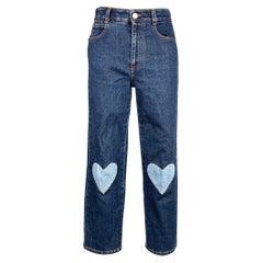 STELLA McCARTNEY Size 26 Blue Patchwork High Waisted Denim Jeans