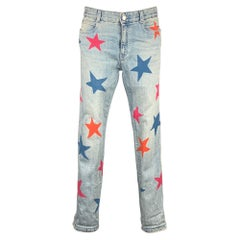 STELLA McCARTNEY Size 27 Blue & Red Star Print Denim Relaxed Fit Jeans