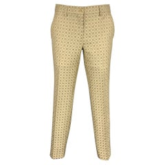 ETRO Size 2 Taupe & Beige Jacquard Polyester Blend Dress Pants