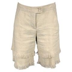 ANDREW GN Size 2 Beige Woven Linen Fringe Shorts
