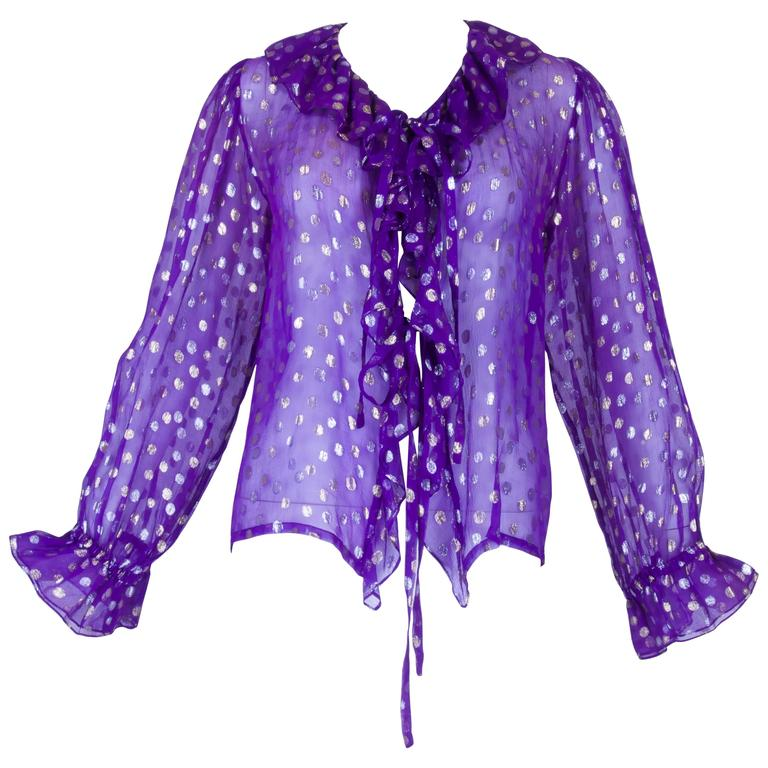 1970s YSL Purple and Metallic Silver and Gold Polka Dot Peasant Blouse 1