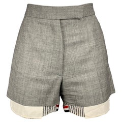 THOM BROWNE Size 2 Grey & White Wool Shorts
