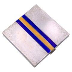 Gucci Vintage Sterling Silver Enamel Stripes Powder Compact Mirror