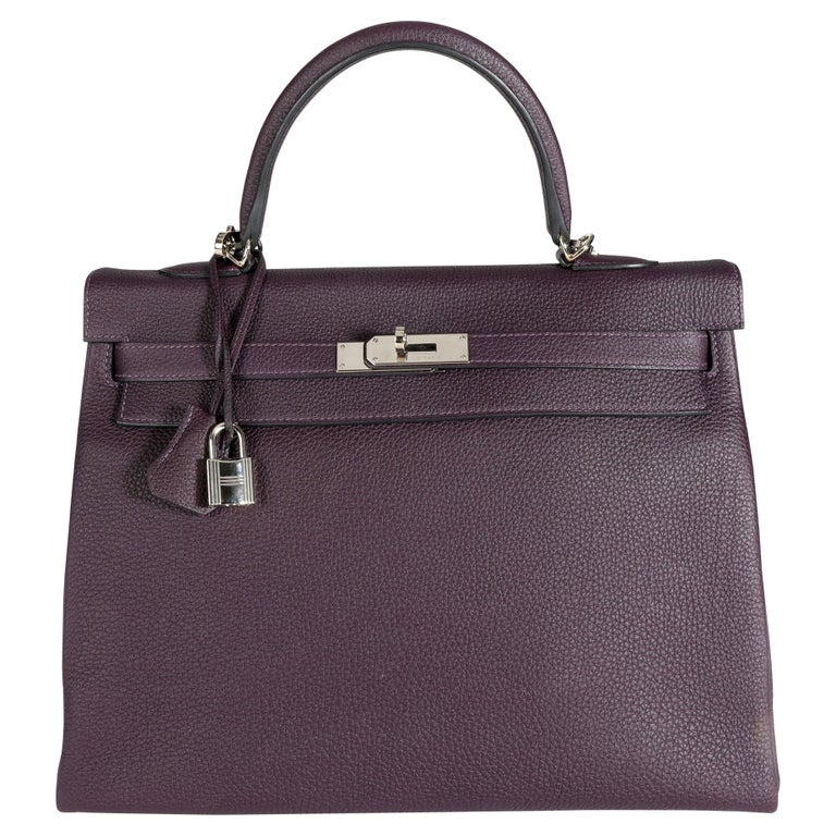 Hermès Raisin Togo Kelly Retourne 35 PHW For Sale