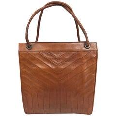 Vintage Yves Saint Laurent Caramel Leather Hand/Tote Bag 1970s