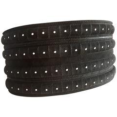 Azzedine Alaia WIde Black Suede Corset Belt