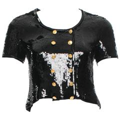Chanel Black Sequin Silk Gold Button Shrug Bolero Evening Cocktail Jacket Top