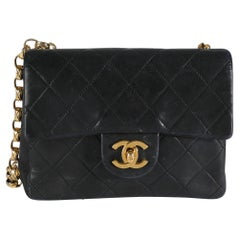 Chanel Black Quilted Lambskin Mini Square Single Flap Bag