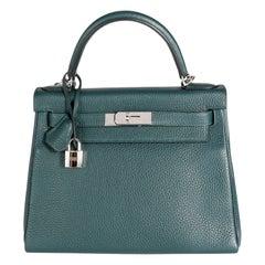 Hermès Vert Cypress Togo Retourne Kelly 28 PHW
