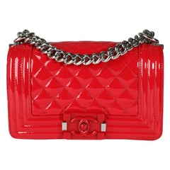 Chanel Red Quilted Patent Leather & Plexiglass Small Boy Bag