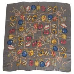 "Nina Ricci Charms Silk Satin Jacquard Scarf 34"" x 34"" Vintage"