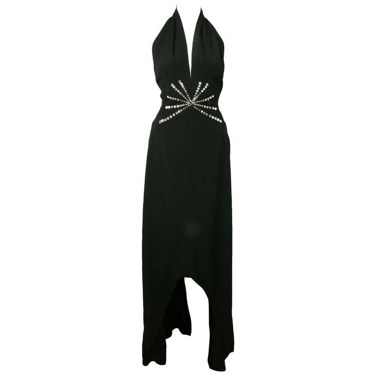 Pauline Trigere Black Halter Neck Evening Gown w/Waterfall Hem&Rhinestone Detail