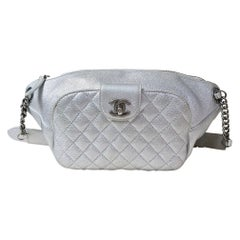 Chanel Silver Banane Quilted Leather Waist Bag