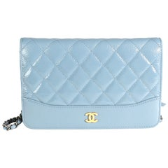 Chanel Blue Quilted Ombré Patent & Aged Calfskin Gabrielle Wallet on Chain