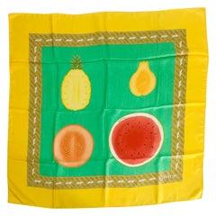 "Bulgari Colourful Fruits Silk Scarf Designed by Davide Pizzigoni 34.5 x 34"""