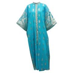 Macy's Aqua Blue & Silver Lamé Caftan Dress, 1960's