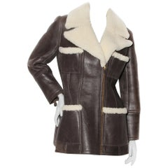 Chanel by Lagerfeld Leather & Shearling Coat