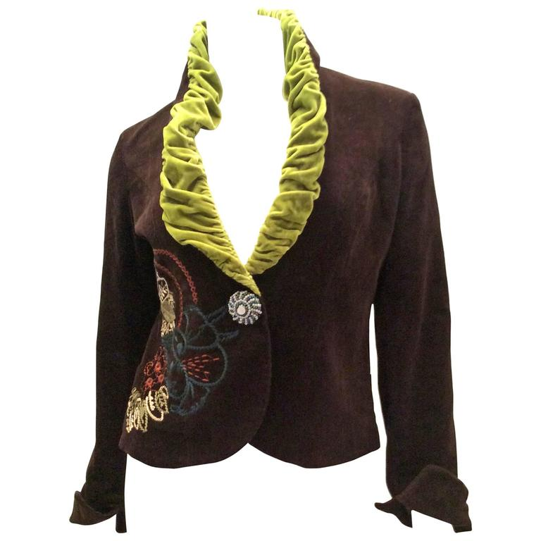 Anna Sui 1990s Embroidered Corduroy Jacket