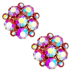 Pink Aurora Borealis Crystal Cluster Earrings By Weiss, 1960s